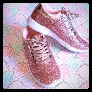 Rose Gold Glitter Sneaker Size 8 from Forever